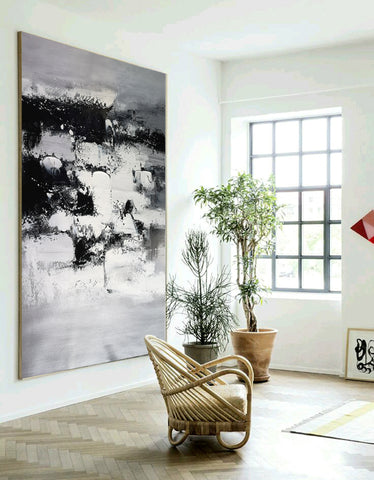 Image of Painting art | Black and white canvas painting | Large black and white wall art F10-1