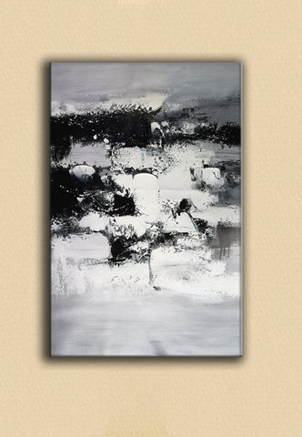 Image of Painting art | Black and white canvas painting | Large black and white wall art F10-6