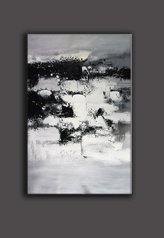 Image of Painting art | Black and white canvas painting | Large black and white wall art F10-7