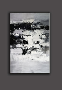 Painting art | Black and white canvas painting | Large black and white wall art F10-7
