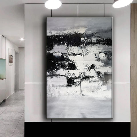 Image of Painting art | Black and white canvas painting | Large black and white wall art F10-8