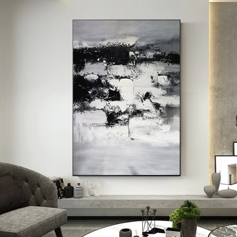 Image of Painting art | Black and white canvas painting | Large black and white wall art F10-2