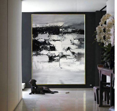 Image of Painting art | Black and white canvas painting | Large black and white wall art F10-10