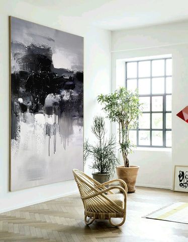 Black and white abstract art paintings | Black and white contemporary art | Large black and white artwork F11-1