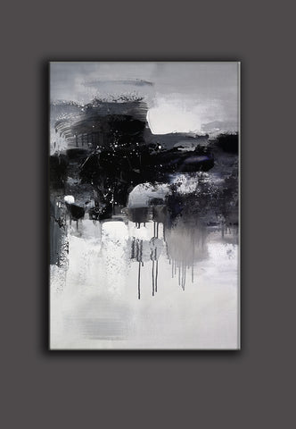 Black and white abstract art paintings | Black and white contemporary art | Large black and white artwork F11-6