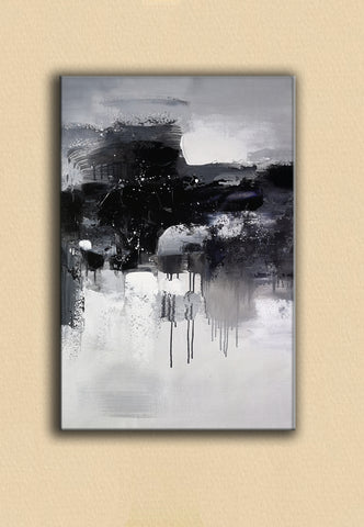 Black and white abstract art paintings | Black and white contemporary art | Large black and white artwork F11-7