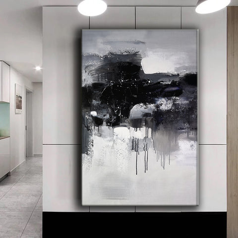 Black and white abstract art paintings | Black and white contemporary art | Large black and white artwork F11-8