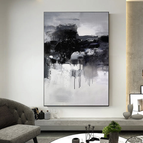 Black and white abstract art paintings | Black and white contemporary art | Large black and white artwork F11-2