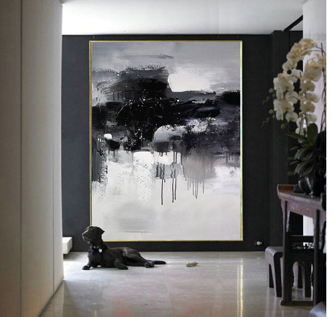 Black and white abstract art paintings | Black and white contemporary art | Large black and white artwork F11-10