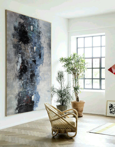 Image of Black white art paintings | Black white abstract painting | Contemporary art F12-5
