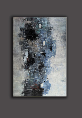 Image of Black white art paintings | Black white abstract painting | Contemporary art F12-10