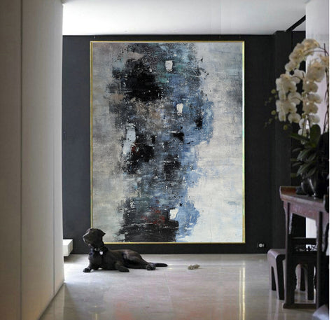 Image of Black white art paintings | Black white abstract painting | Contemporary art F12-2