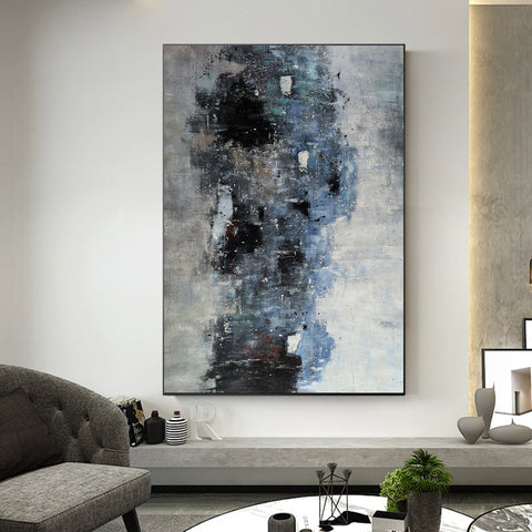 Image of Black white art paintings | Black white abstract painting | Contemporary art F12-3
