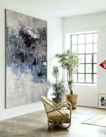 Image of Black and white canvas wall art | Large black and white abstract painting | Large black and white abstract art F13-1