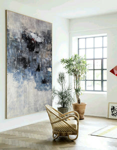 Black and white canvas wall art | Large black and white abstract painting | Large black and white abstract art F13-1