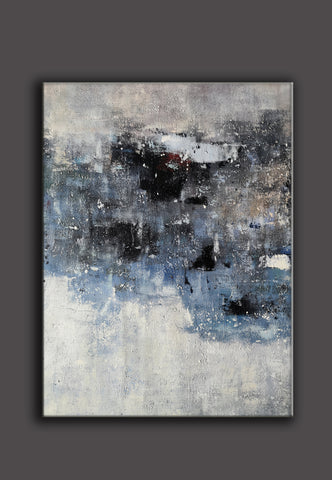 Image of Black and white canvas wall art | Large black and white abstract painting | Large black and white abstract art F13-7