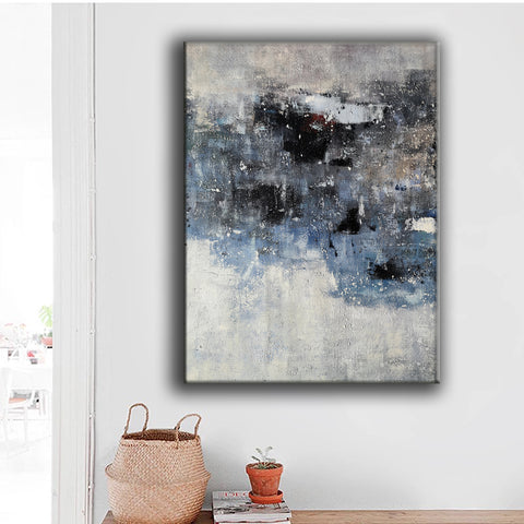 Image of Black and white canvas wall art | Large black and white abstract painting | Large black and white abstract art F13-8