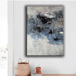 Black and white canvas wall art | Large black and white abstract painting | Large black and white abstract art F13-8