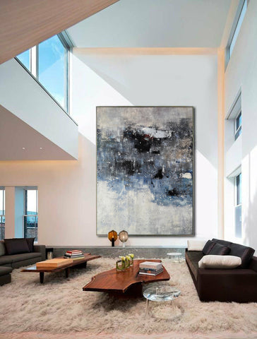 Image of Black and white canvas wall art | Large black and white abstract painting | Large black and white abstract art F13-9