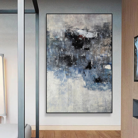 Image of Black and white canvas wall art | Large black and white abstract painting | Large black and white abstract art F13-10