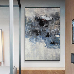 Black and white canvas wall art | Large black and white abstract painting | Large black and white abstract art F13-10