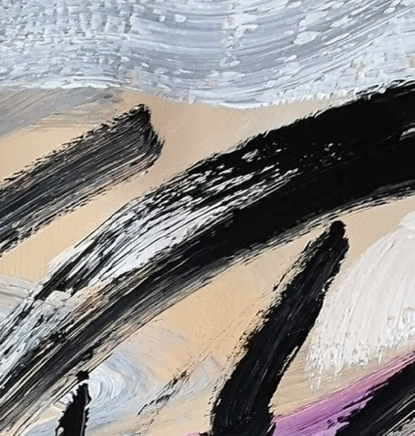 Black and white art paintings | White abstract painting F15-4