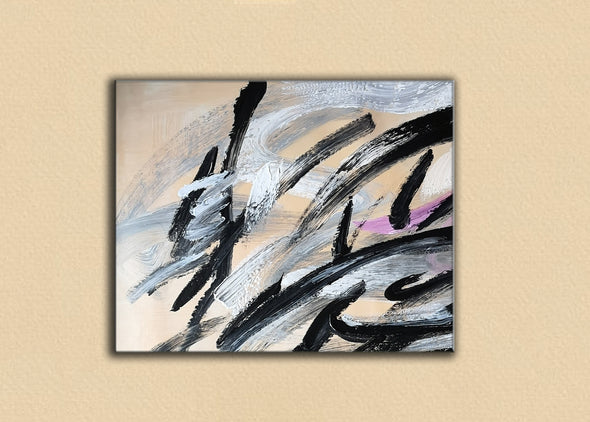 Black and white art paintings | White abstract painting F15-7