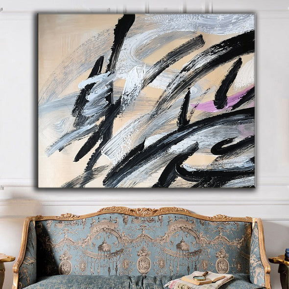 Black and white art paintings | White abstract painting F15-8