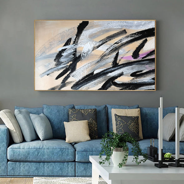 Black and white art paintings | White abstract painting F15-9
