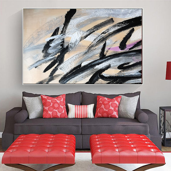 Black and white art paintings | White abstract painting F15-1