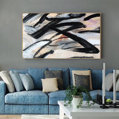 Image of Paint abstract art canvas | Original abstract artwork  | Abstract canvas oil painting F16-8