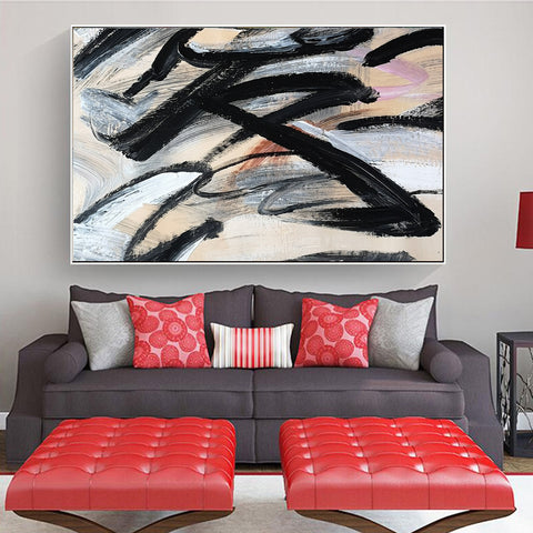 Image of Paint abstract art canvas | Original abstract artwork  | Abstract canvas oil painting F16-2