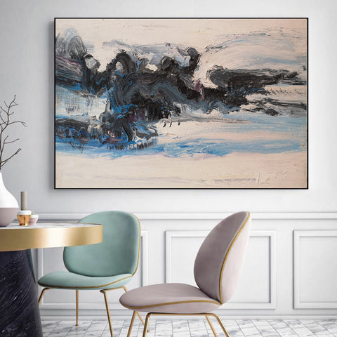 Black and white oil painting | Black and white abstract canvas F21-1