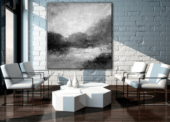 Black white abstract painting | Black white and grey paintings F29-3
