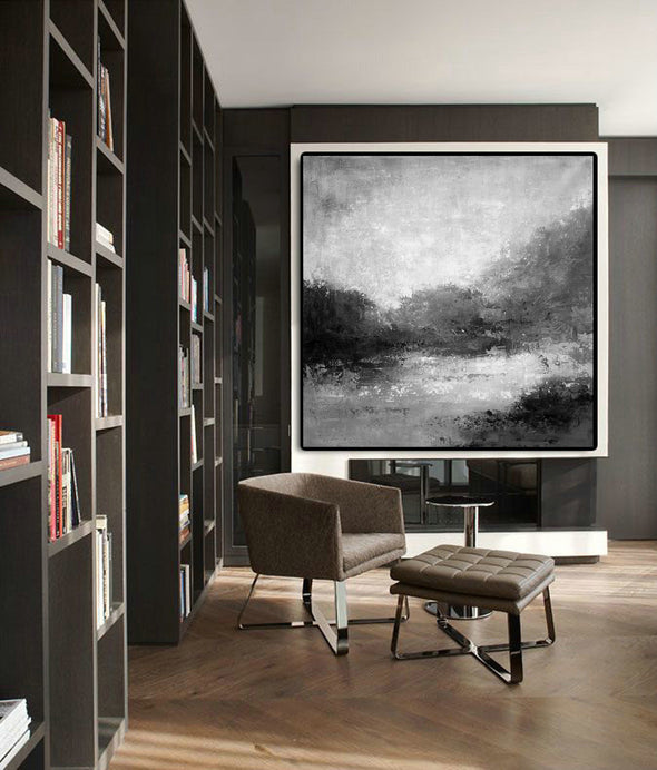 Black white abstract painting | Black white and grey paintings F29-1