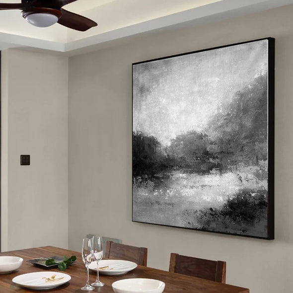 Black white abstract painting | Black white and grey paintings F29-10
