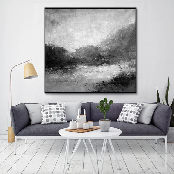 Black white abstract painting | Black white and grey paintings F29-2