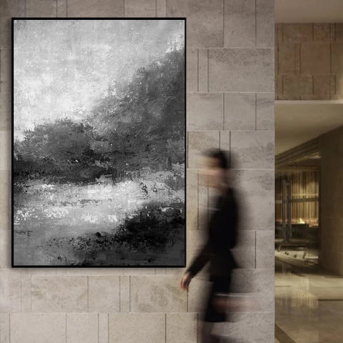 Image of Black and white abstract | Black and white artwork for living room | Black and white art abstract F33-2