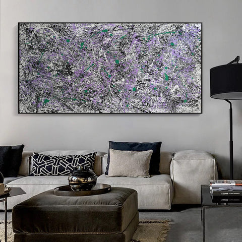 Black white modern art | Black and white oil paintings on canvas F37-1