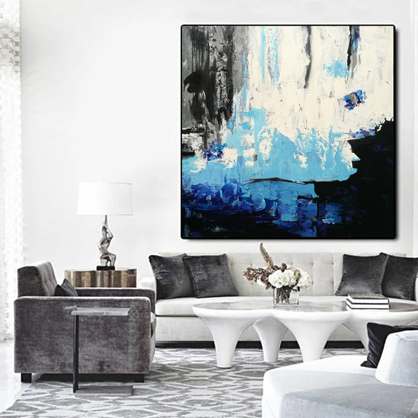 Black white modern art | Black and white oil paintings on canvas F46 -1