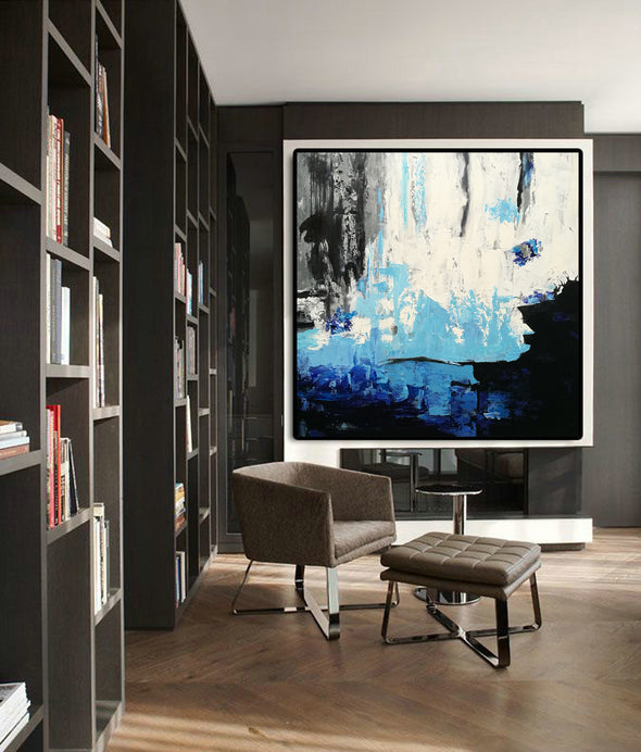 Black white modern art | Black and white oil paintings on canvas F46 -7