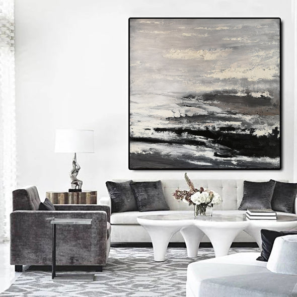 Large black and white painting | Black and white abstract paintings on canvas F47-6