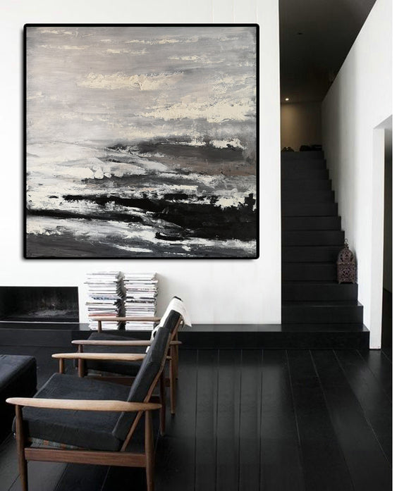 Large black and white painting | Black and white abstract paintings on canvas F47-7
