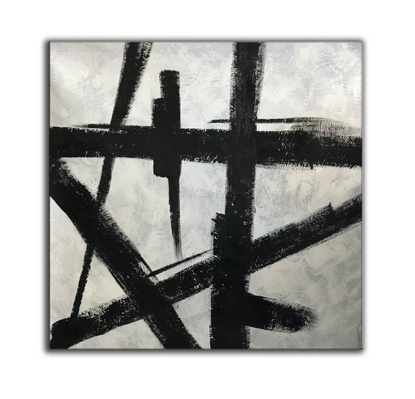 Black and white wall art | Black and white abstract painting F51-10