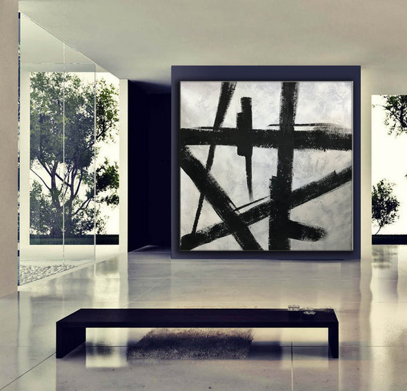 Black and white wall art | Black and white abstract painting F51-7