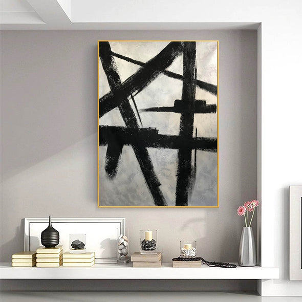 Black and white modern paintings | Black and white modern art paintings | White artwork  F56-1