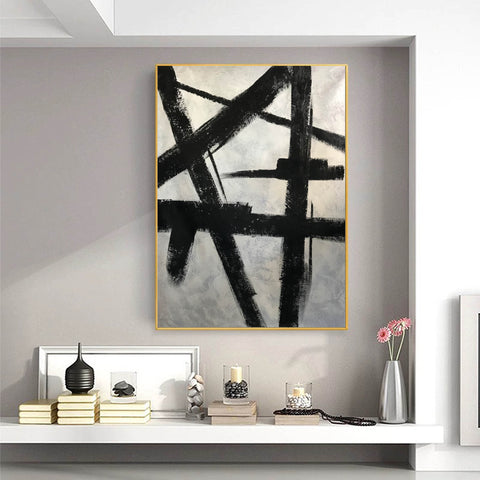Image of Black and white modern paintings | Black and white modern art paintings | White artwork  F56-1