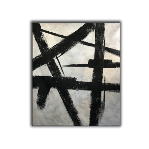Image of Black and white modern paintings | Black and white modern art paintings | White artwork  F56-6