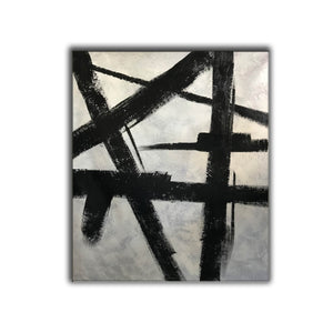 Black and white modern paintings | Black and white modern art paintings | White artwork  F56-6