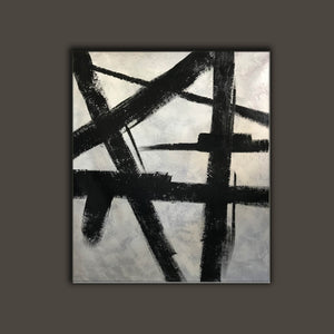 Black and white modern paintings | Black and white modern art paintings | White artwork  F56-7